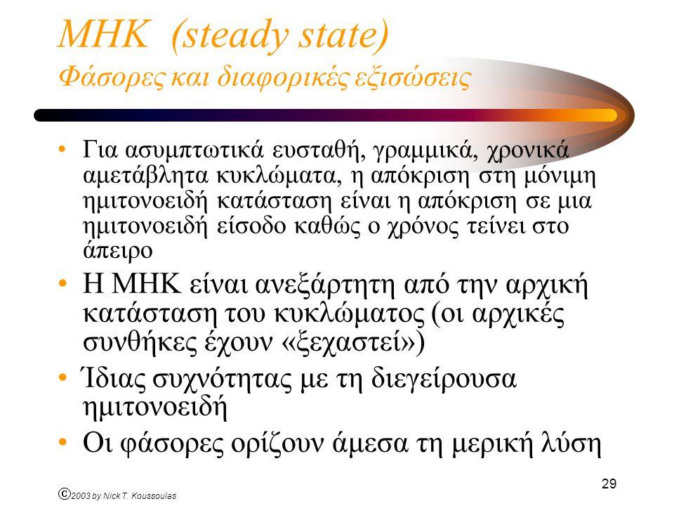 ΜΗΚ (steady state) Φάσορες και διαφορικές εξισώσεις