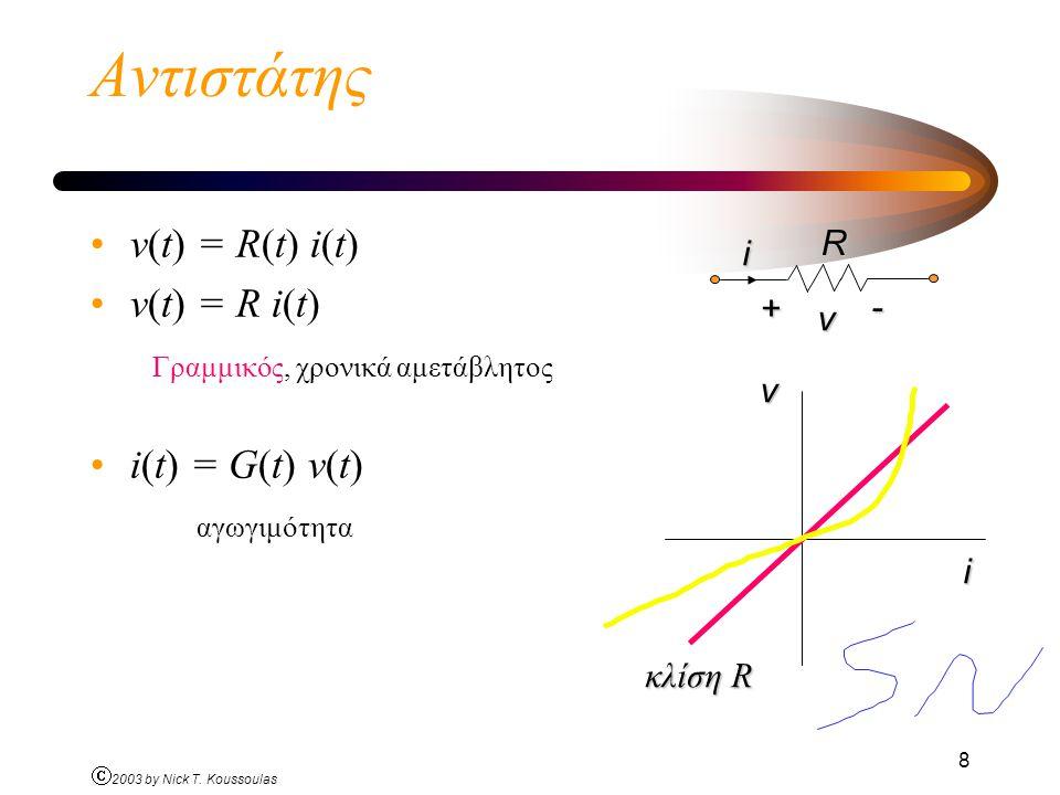 Αντιστάτης v(t) = R(t) i(t) v(t) = R i(t)