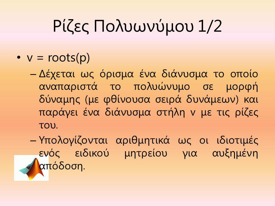 Ρίζες Πολυωνύμου 1/2 v = roots(p)