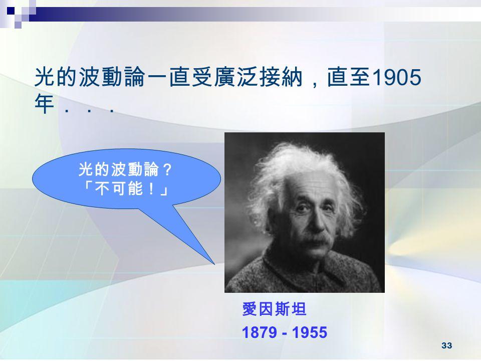 光的波動論一直受廣泛接納,直至1905年... 光的波動論? 「不可能!」 愛因斯坦 1879 - 1955