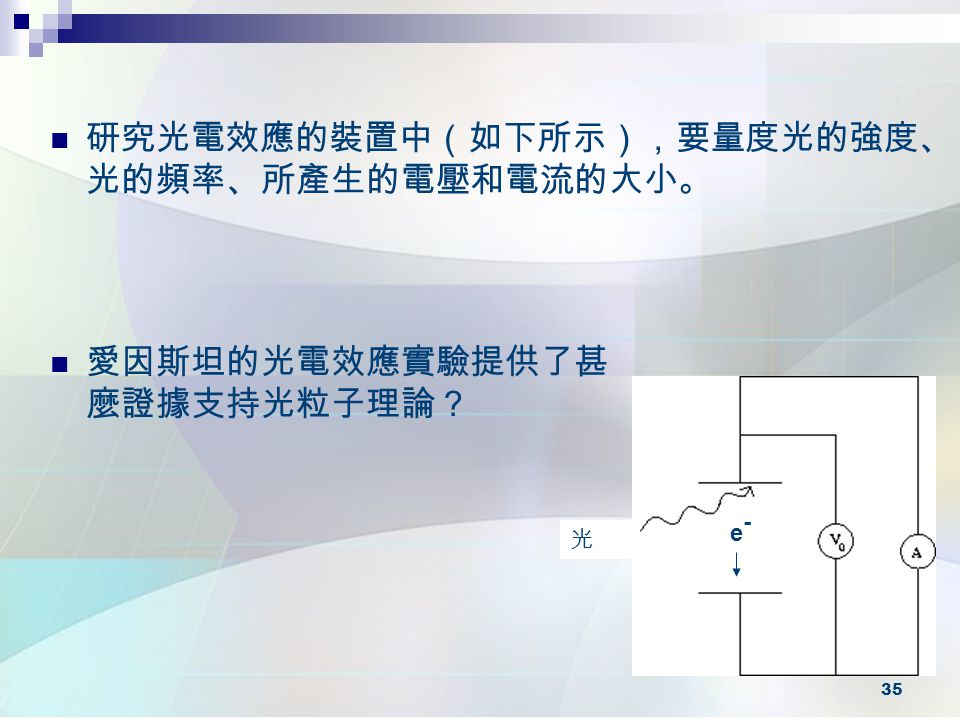 研究光電效應的裝置中(如下所示),要量度光的強度、光的頻率、所產生的電壓和電流的大小。