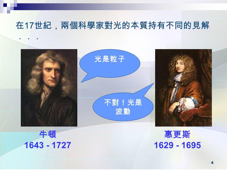 在17世紀,兩個科學家對光的本質持有不同的見解...