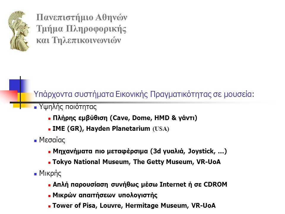 Υπάρχοντα συστήματα Εικονικής Πραγματικότητας σε μουσεία: