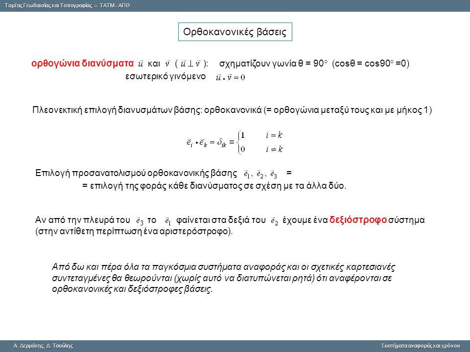 Ορθοκανονικές βάσεις ορθογώνια διανύσματα και ( ): σχηματίζουν γωνία θ = 90 (cosθ = cos90 =0)