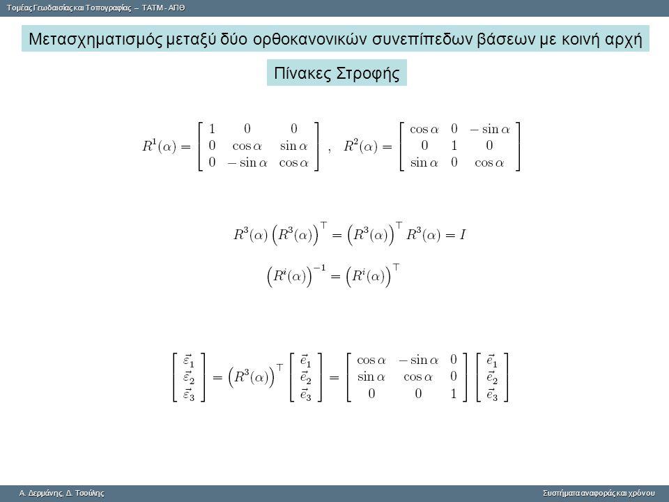 Μετασχηματισμός μεταξύ δύο ορθοκανονικών συνεπίπεδων βάσεων με κοινή αρχή
