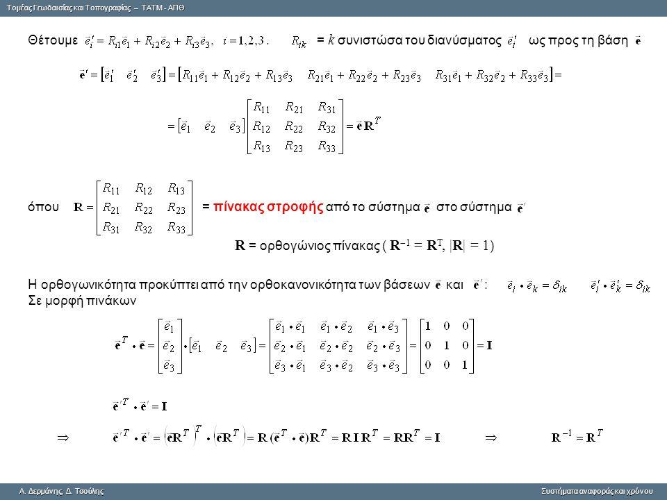R = ορθογώνιος πίνακας ( R-1 = RT, |R| = 1)