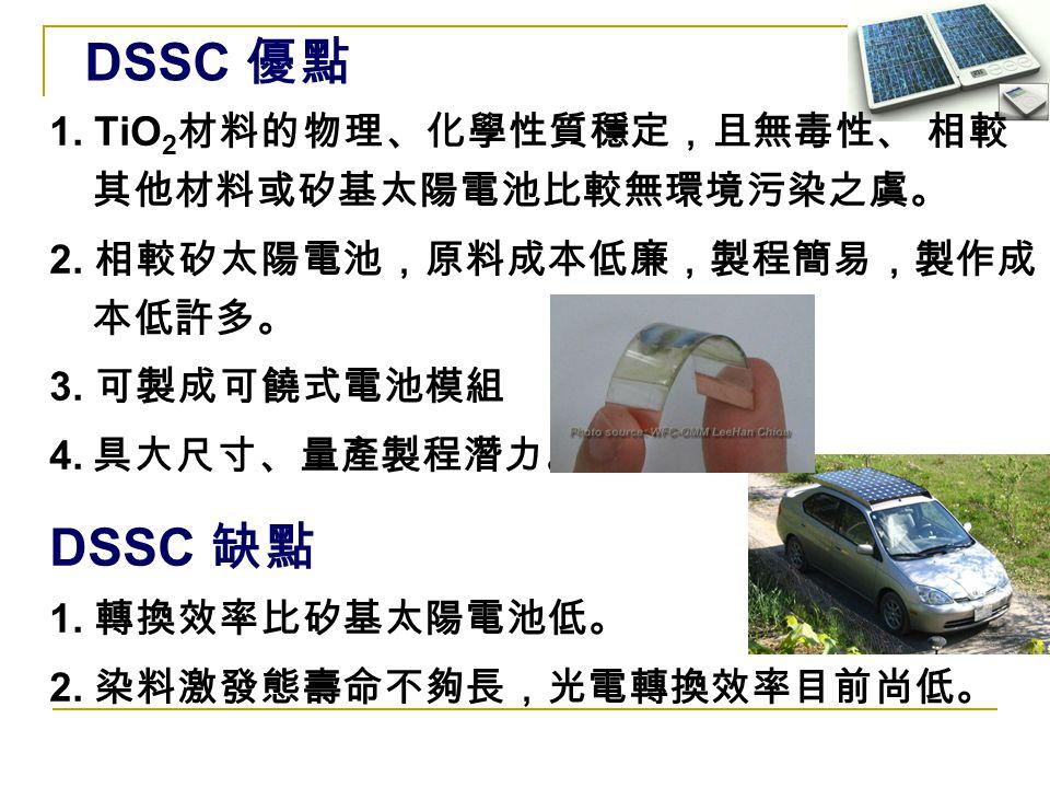 DSSC 優點 DSSC 缺點 1. TiO2材料的物理、化學性質穩定,且無毒性、 相較其他材料或矽基太陽電池比較無環境污染之虞。