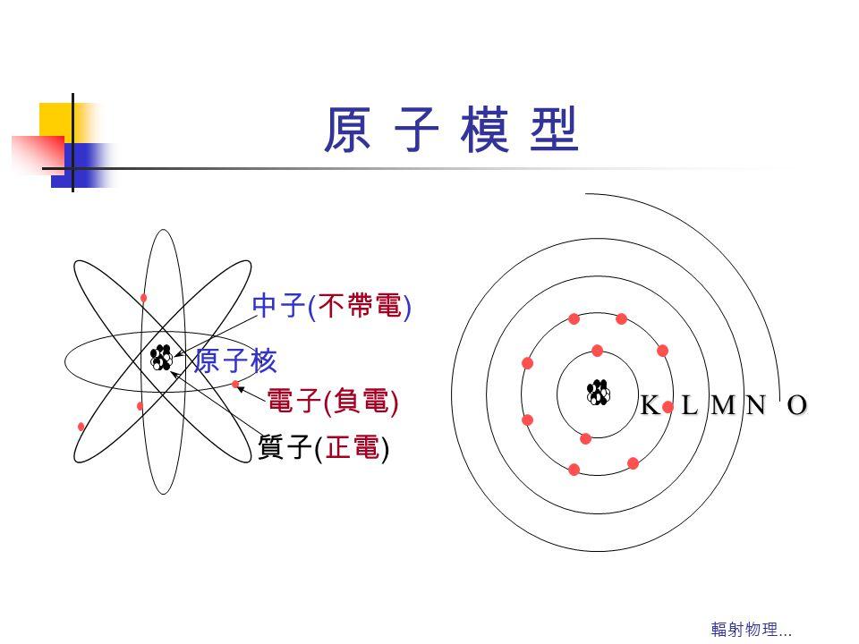 原 子 模 型 K L M N O 原子核 中子(不帶電) 質子(正電) 電子(負電) 輻射物理…
