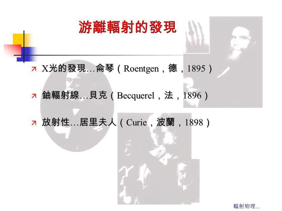 游離輻射的發現 X光的發現…侖琴(Roentgen,德,1895) 鈾輻射線…貝克(Becquerel,法,1896)