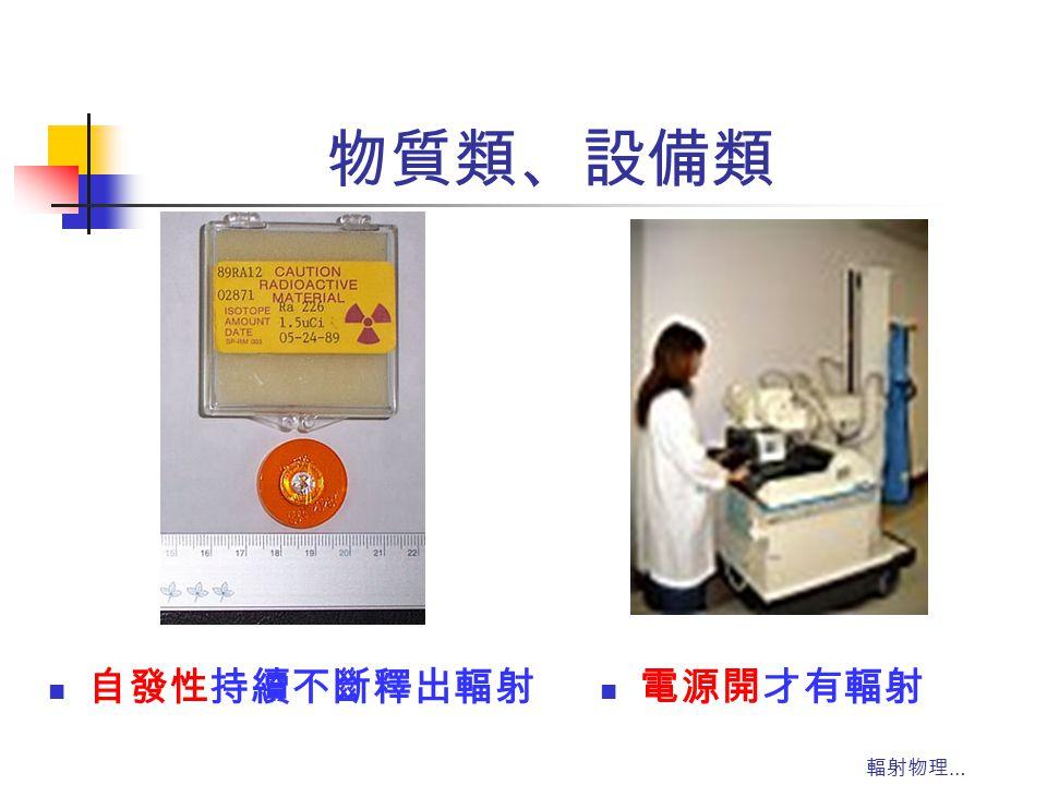 物質類、設備類 自發性持續不斷釋出輻射 電源開才有輻射 輻射物理…
