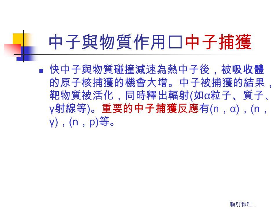 中子與物質作用‥中子捕獲 快中子與物質碰撞減速為熱中子後,被吸收體的原子核捕獲的機會大增。中子被捕獲的結果,靶物質被活化,同時釋出輻射(如α粒子、質子、γ射線等)。重要的中子捕獲反應有(n,α),(n,γ),(n,p)等。