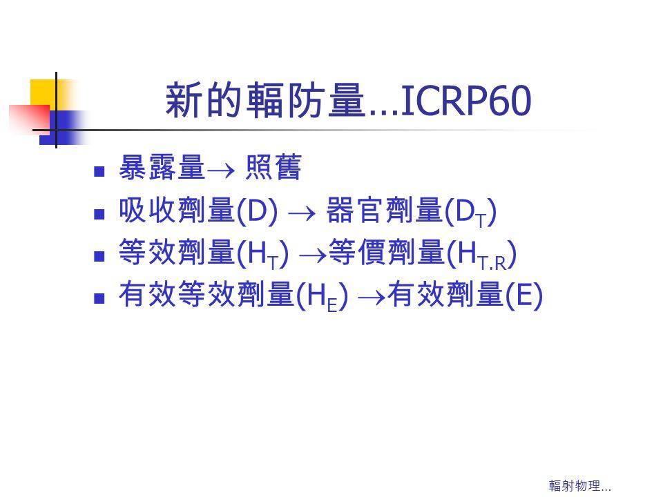 新的輻防量…ICRP60 暴露量 照舊 吸收劑量(D)  器官劑量(DT) 等效劑量(HT) 等價劑量(HT.R)