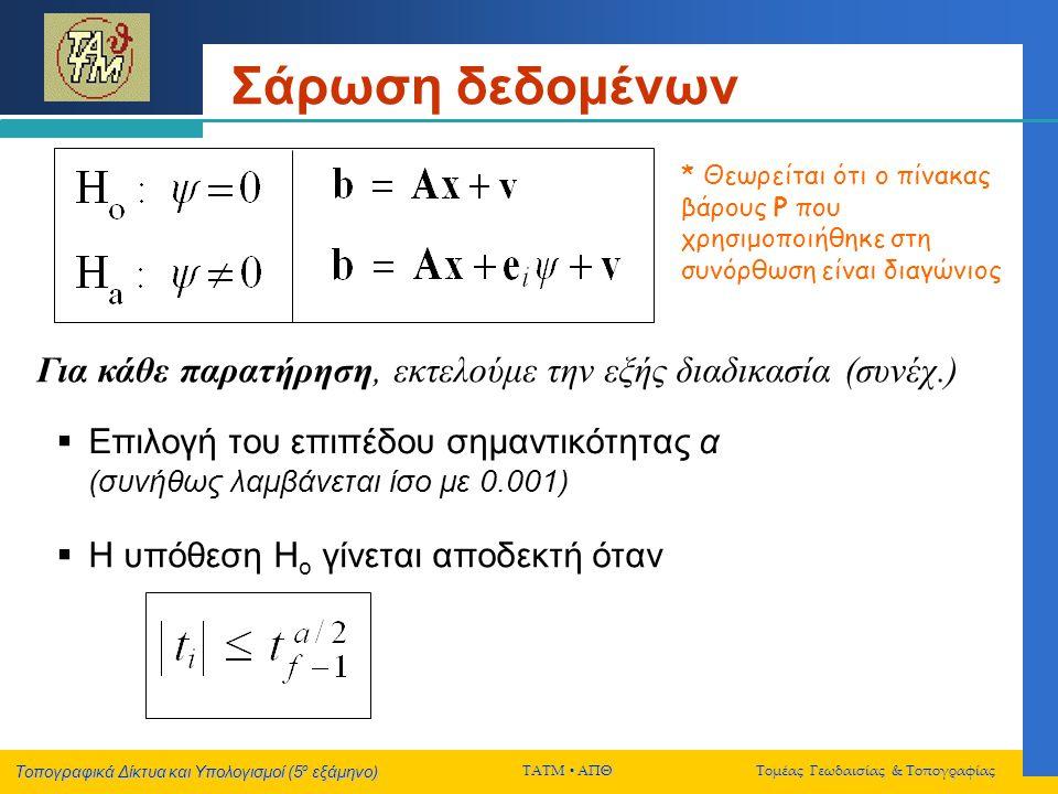 Σάρωση δεδομένων * Θεωρείται ότι ο πίνακας βάρους P που χρησιμοποιήθηκε στη συνόρθωση είναι διαγώνιος.