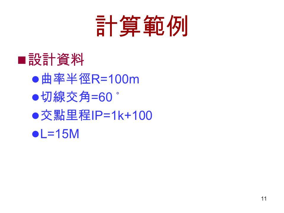 計算範例 設計資料 曲率半徑R=100m 切線交角=60 ˚ 交點里程IP=1k+100 L=15M