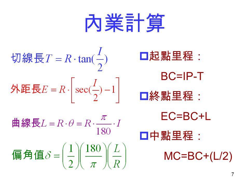 內業計算 起點里程: BC=IP-T 終點里程: EC=BC+L 中點里程: MC=BC+(L/2)