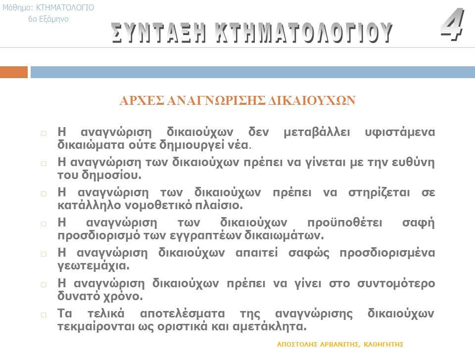 ΑΡΧΕΣ ΑΝΑΓΝΩΡΙΣΗΣ ΔΙΚΑΙΟΥΧΩΝ