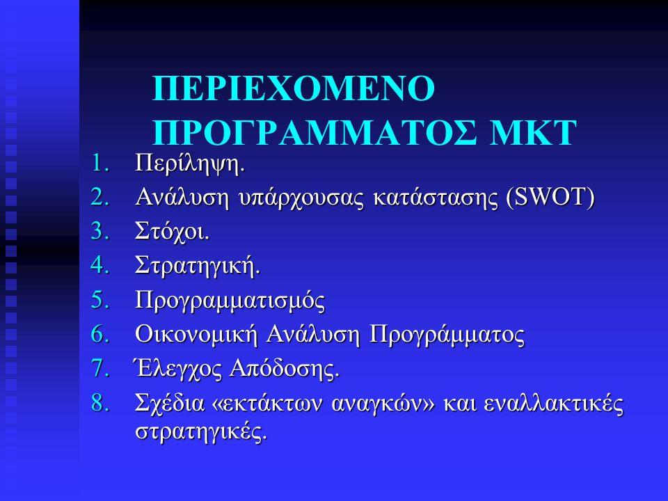 ΠΕΡΙΕΧΟΜΕΝΟ ΠΡΟΓΡΑΜΜΑΤΟΣ ΜΚΤ