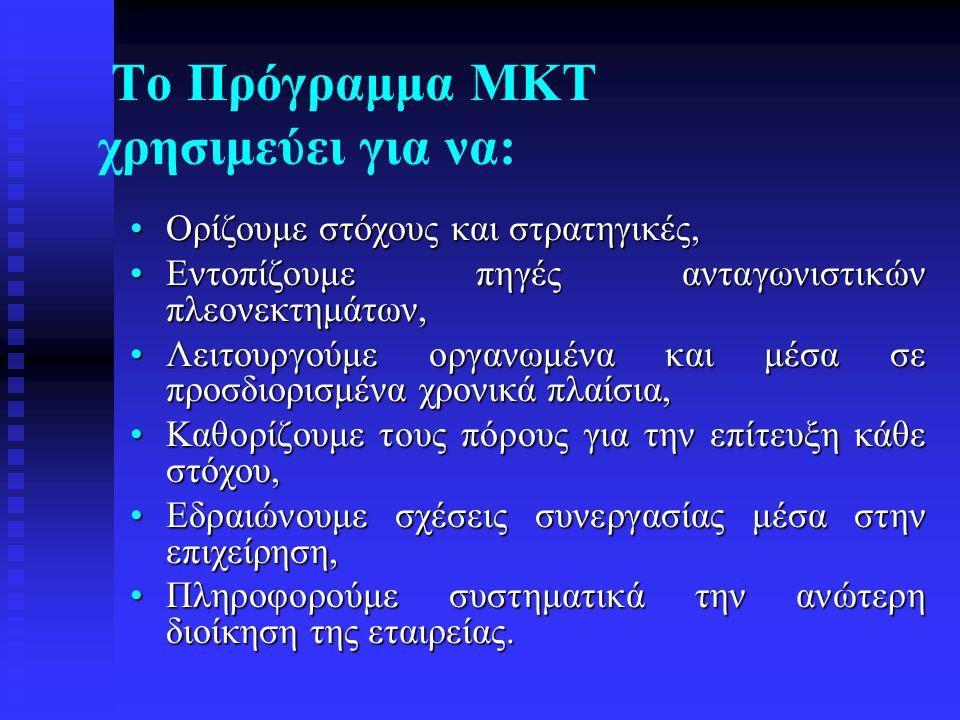 Το Πρόγραμμα ΜΚΤ χρησιμεύει για να: