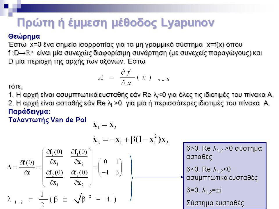Πρώτη ή έμμεση μέθοδος Lyapunov