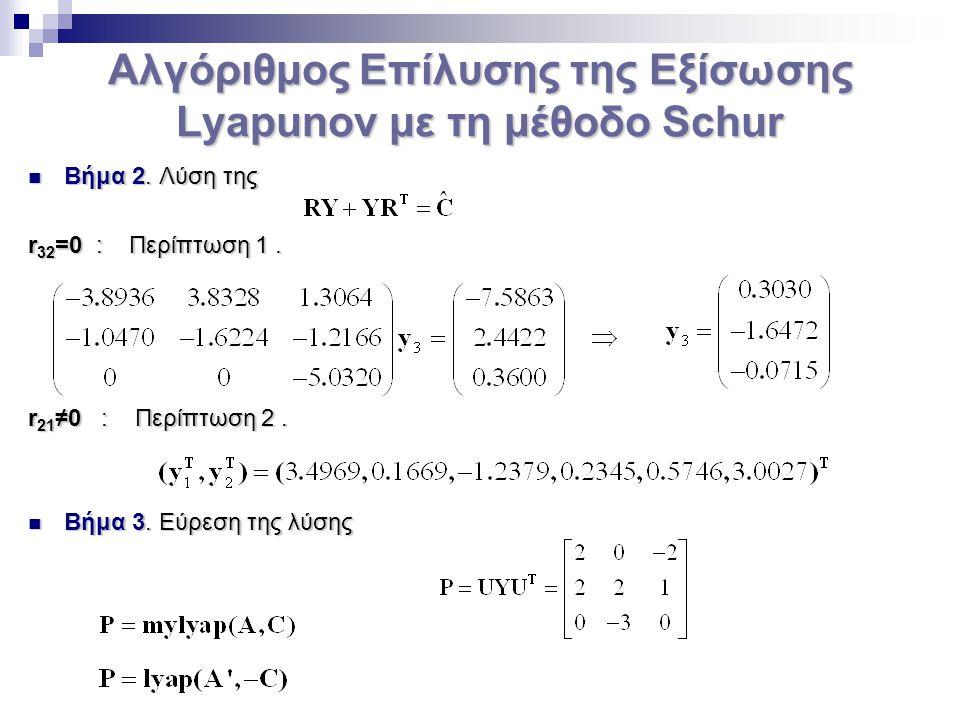 Αλγόριθμος Επίλυσης της Εξίσωσης Lyapunov με τη μέθοδο Schur