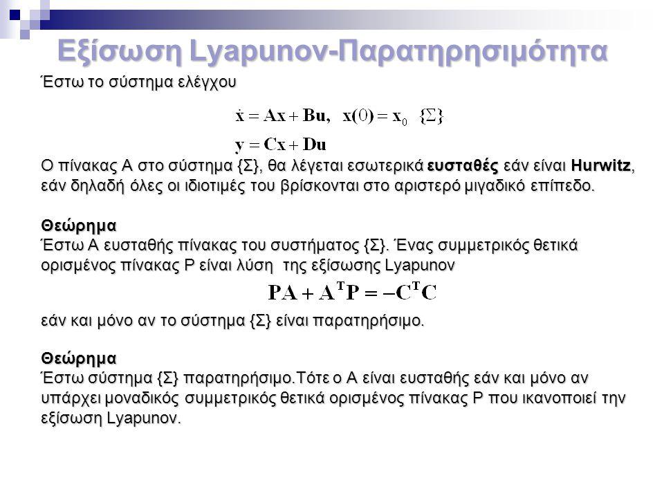 Εξίσωση Lyapunov-Παρατηρησιμότητα