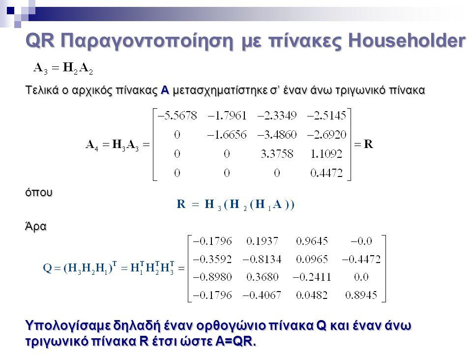 QR Παραγοντοποίηση με πίνακες Householder