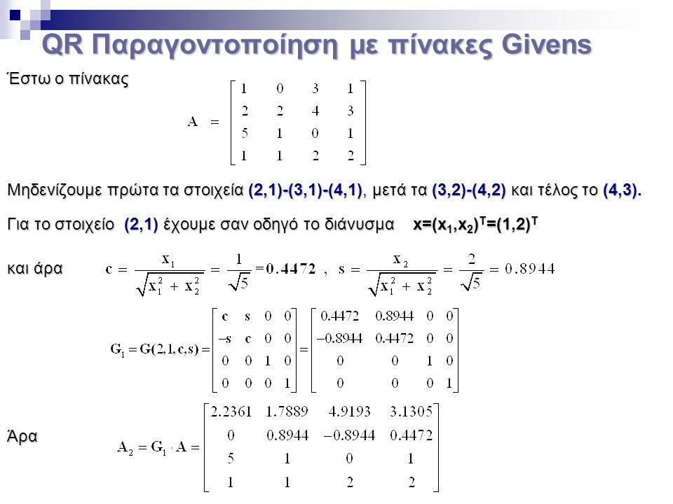 QR Παραγοντοποίηση με πίνακες Givens