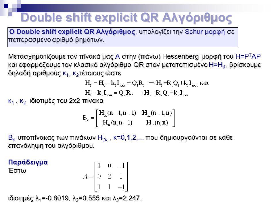 Double shift explicit QR Αλγόριθμος