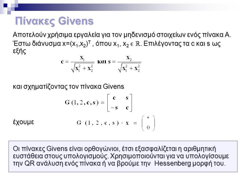 Πίνακες Givens Aποτελούν χρήσιμα εργαλεία για τον μηδενισμό στοιχείων ενός πίνακα Α.