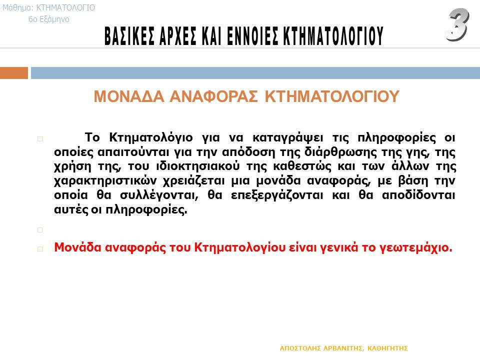 ΜΟΝΑΔΑ ΑΝΑΦΟΡΑΣ ΚΤΗΜΑΤΟΛΟΓΙΟΥ