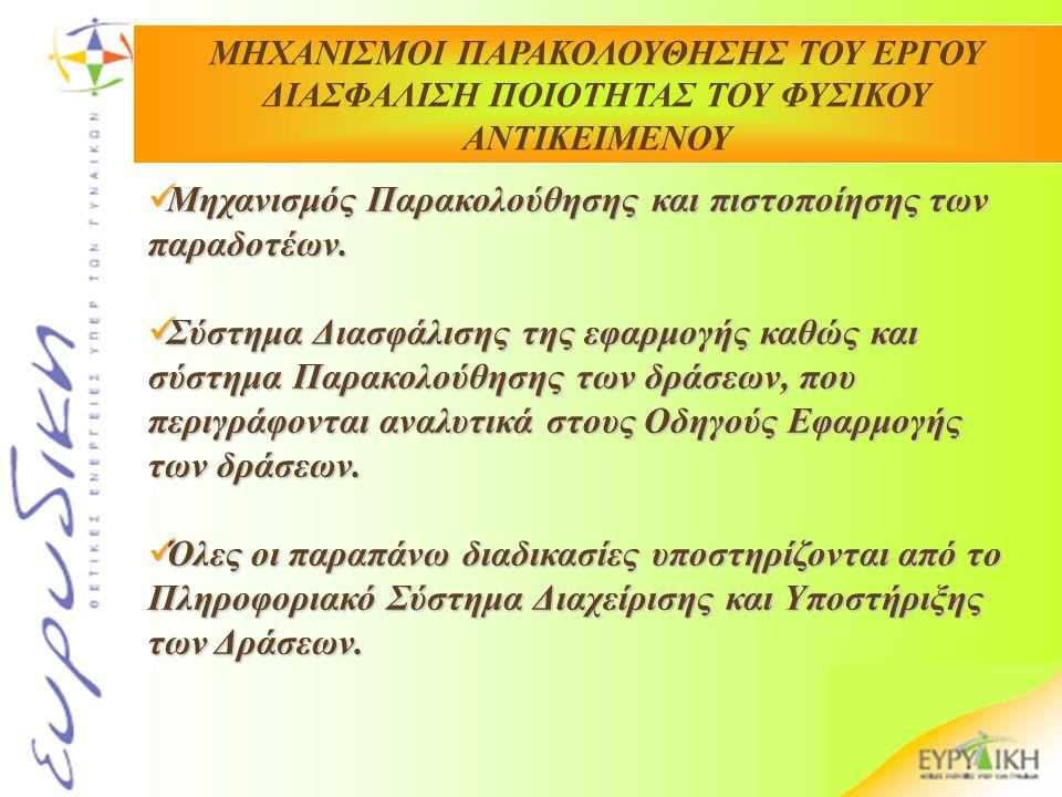 Μηχανισμός Παρακολούθησης και πιστοποίησης των παραδοτέων.