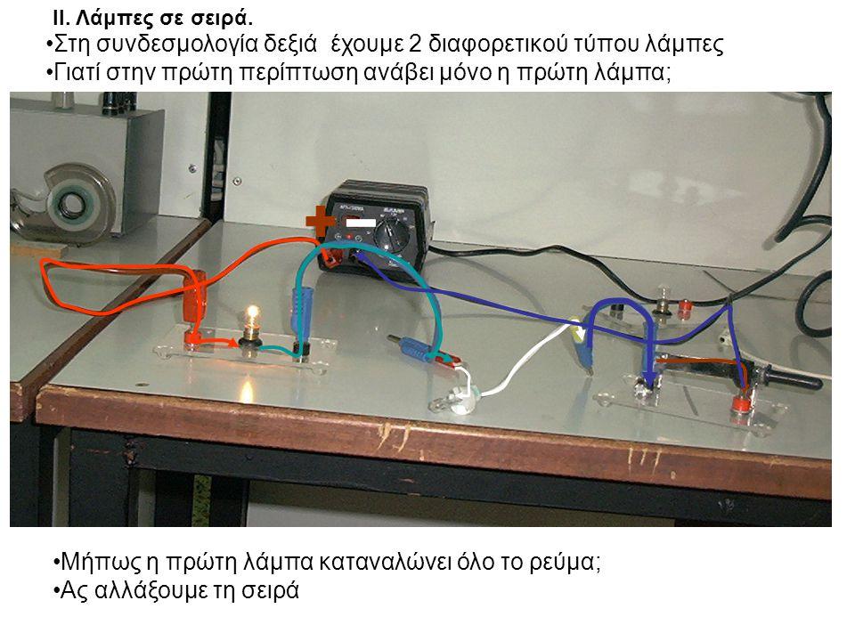 + - Στη συνδεσμολογία δεξιά έχουμε 2 διαφορετικού τύπου λάμπες