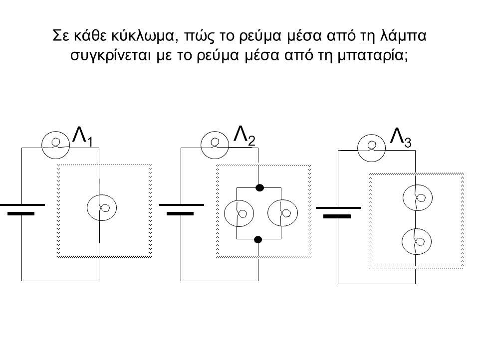 Σε κάθε κύκλωμα, πώς το ρεύμα μέσα από τη λάμπα συγκρίνεται με το ρεύμα μέσα από τη μπαταρία;