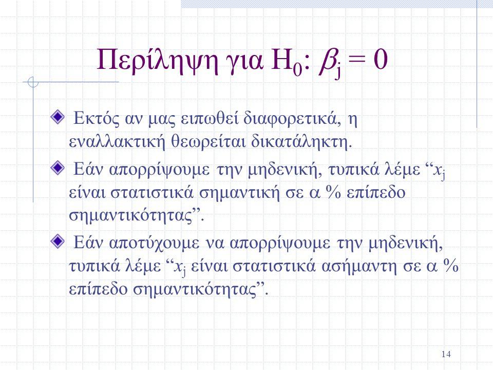 Περίληψη για H0: bj = 0 Εκτός αν μας ειπωθεί διαφορετικά, η εναλλακτική θεωρείται δικατάληκτη.