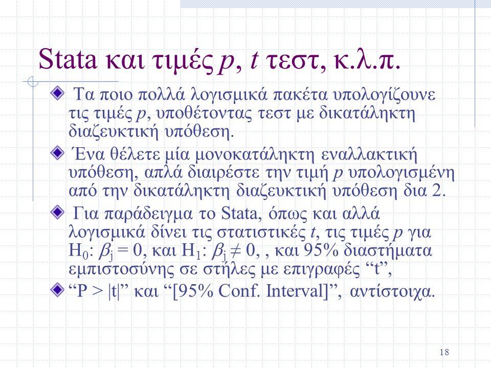 Stata και τιμές p, t τεστ, κ.λ.π.