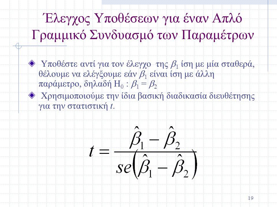 Έλεγχος Υποθέσεων για έναν Απλό Γραμμικό Συνδυασμό των Παραμέτρων