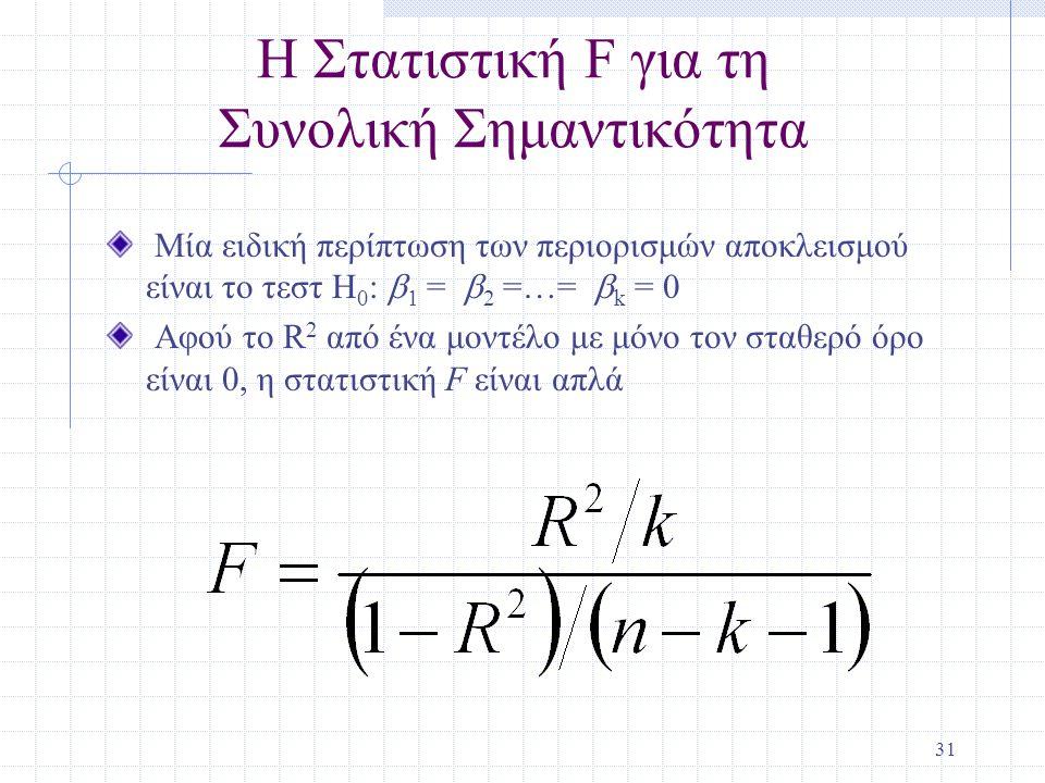 Η Στατιστική F για τη Συνολική Σημαντικότητα
