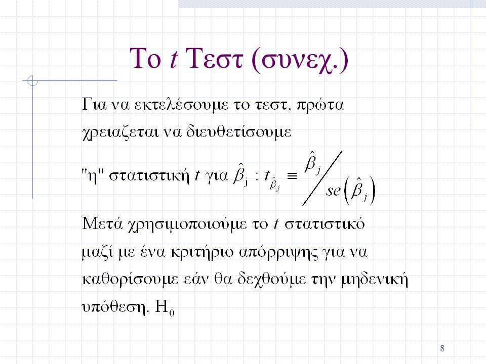 Το t Τεστ (συνεχ.)