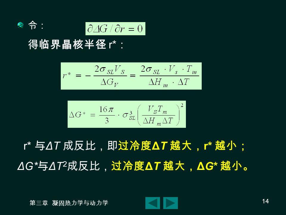 r* 与ΔT 成反比,即过冷度ΔT 越大,r* 越小; ΔG*与ΔT2成反比,过冷度ΔT 越大,ΔG* 越小。