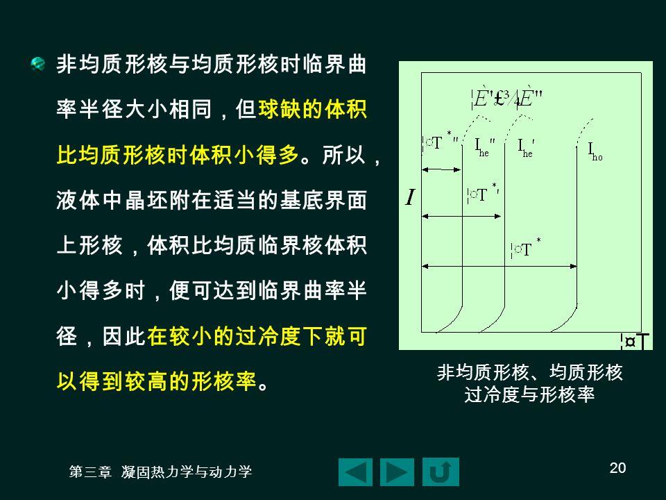 非均质形核与均质形核时临界曲率半径大小相同,但球缺的体积比均质形核时体积小得多。所以,液体中晶坯附在适当的基底界面上形核,体积比均质临界核体积小得多时,便可达到临界曲率半径,因此在较小的过冷度下就可以得到较高的形核率。