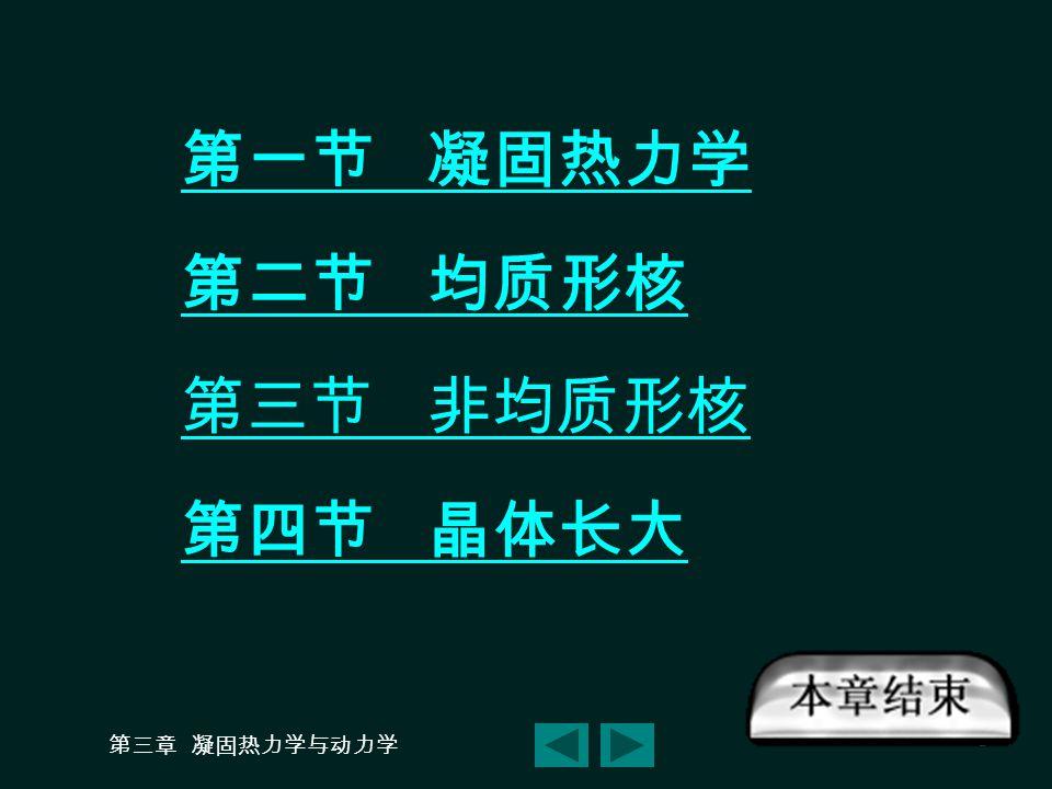 第一节 凝固热力学 第二节 均质形核 第三节 非均质形核 第四节 晶体长大 第三章 凝固热力学与动力学