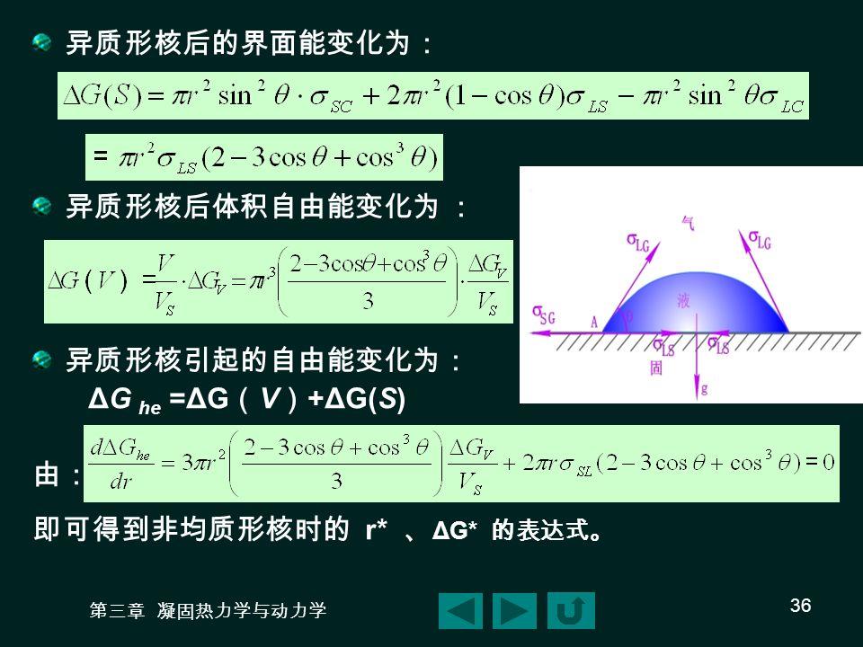 即可得到非均质形核时的 r* 、ΔG* 的表达式。
