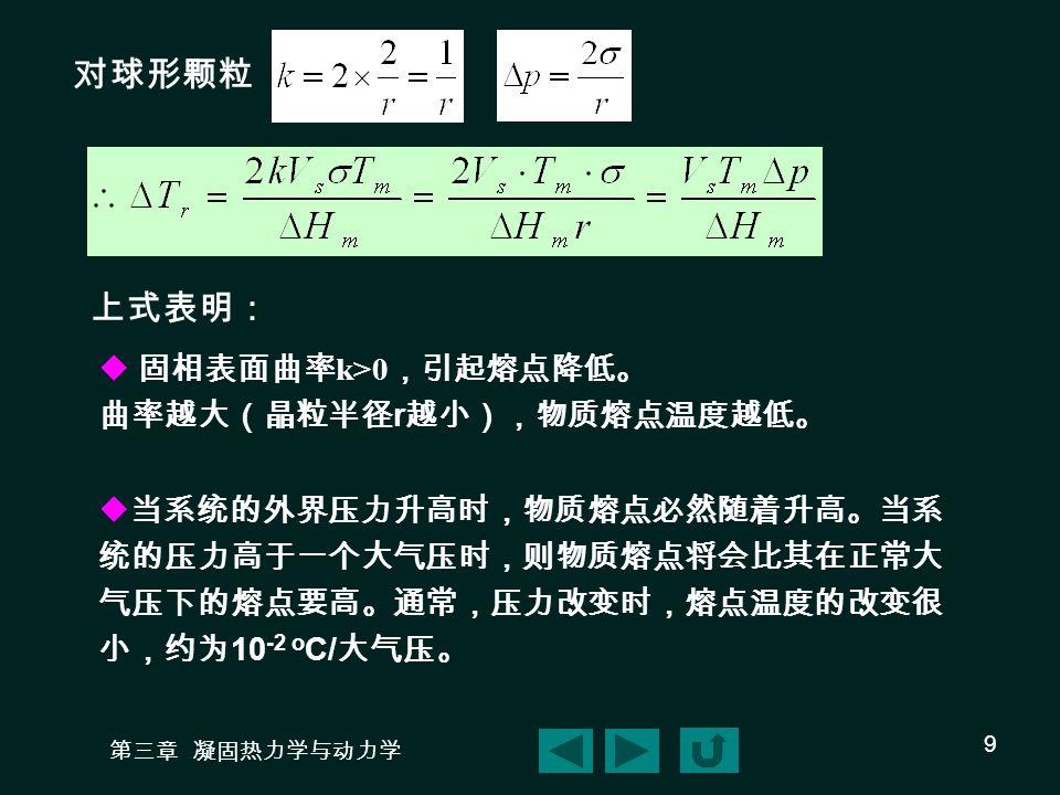 对球形颗粒 上式表明: 固相表面曲率k>0,引起熔点降低。 曲率越大(晶粒半径r越小),物质熔点温度越低。