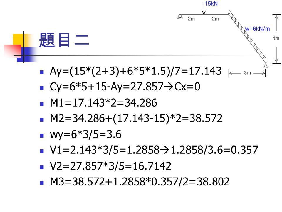 題目二 Ay=(15*(2+3)+6*5*1.5)/7=17.143 Cy=6*5+15-Ay=27.857Cx=0