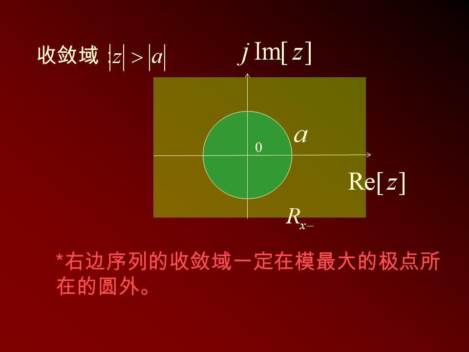 收敛域: *右边序列的收敛域一定在模最大的极点所在的圆外。