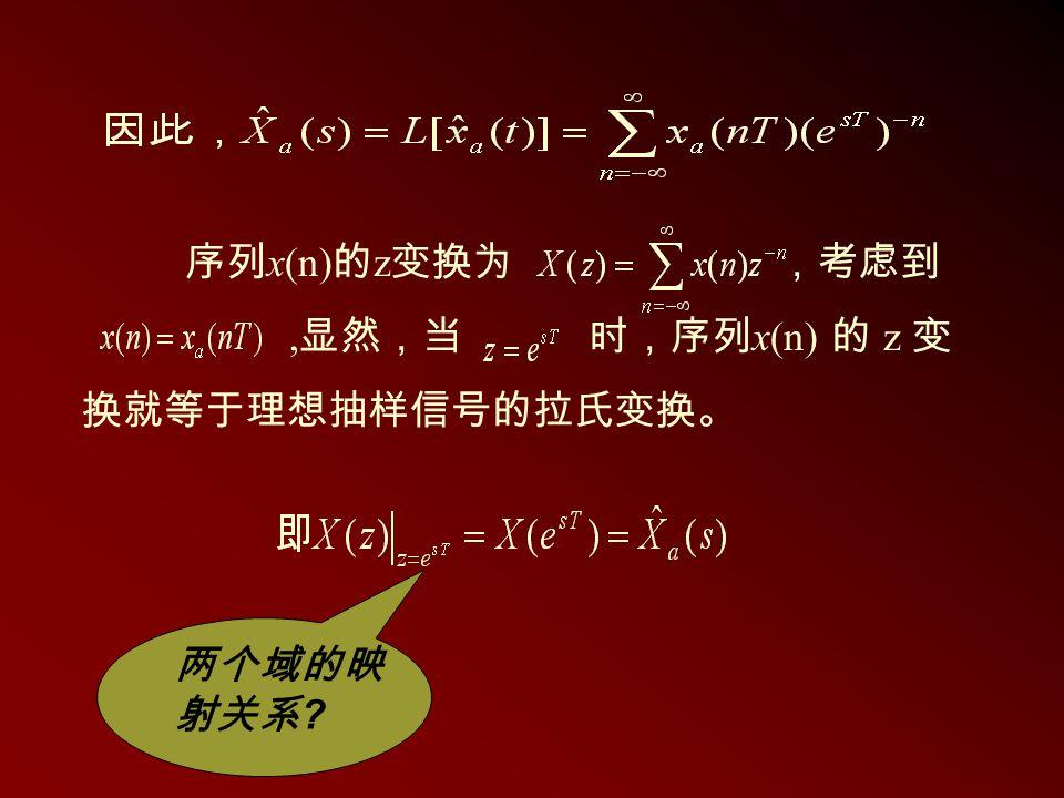 序列x(n)的z变换为 ,考虑到 ,显然,当 时,序列x(n) 的 z 变 换就等于理想抽样信号的拉氏变换。 两个域的映射关系