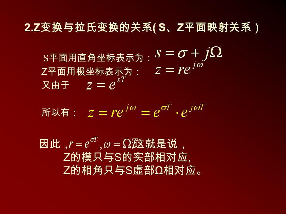 2.Z变换与拉氏变换的关系( S、Z平面映射关系)