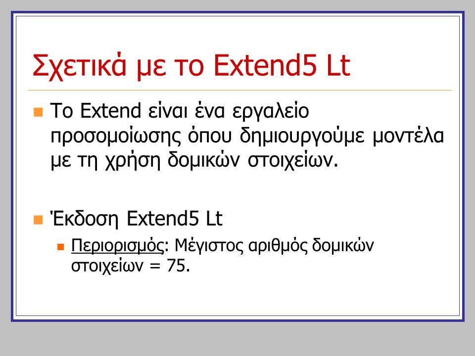 Σχετικά με το Extend5 Lt Το Extend είναι ένα εργαλείο προσομοίωσης όπου δημιουργούμε μοντέλα με τη χρήση δομικών στοιχείων.