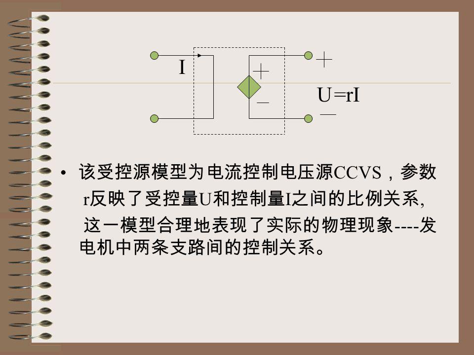 I U =rI 该受控源模型为电流控制电压源CCVS,参数 r反映了受控量U和控制量I之间的比例关系,