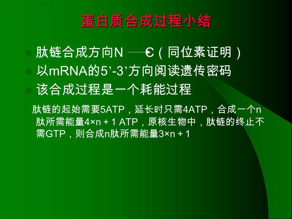 蛋白质合成过程小结 肽链合成方向N C(同位素证明) 以mRNA的5'-3'方向阅读遗传密码 该合成过程是一个耗能过程
